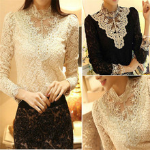 Hot Fashion Women Elegant Lace Loose Long Sleeve Tops Blouse Shirt Casual Cotton