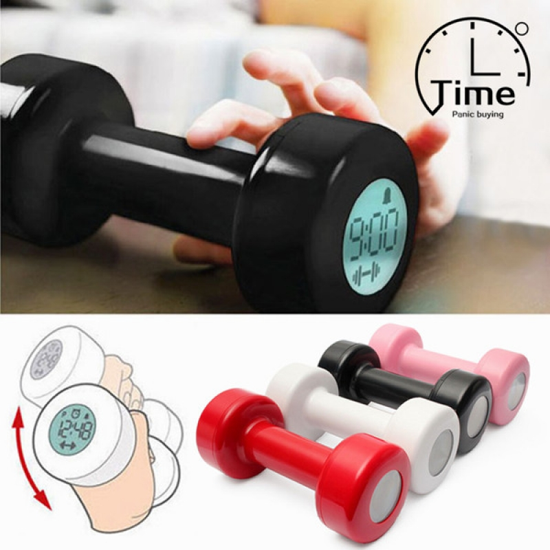 Creative Dumbbell Shape Timer 2 Working Modes Exercise Alarm Clock Weightlifting Dumbbell Alarm Clock Weight Loss