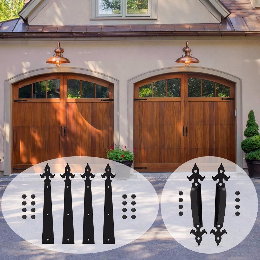 LWZH Decorative Carriage House Garage Handle Hinge Accent Set Sliding Barn Door Hardware Kit Arrow Style