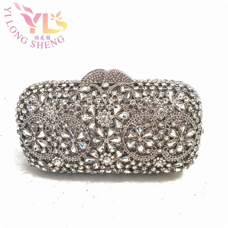 Luxury crystal clutch evening bag SILVER flower party purse women wedding bridal handbag pouch soiree pochette bag YLS-F98