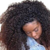 Афро кудрявый вьющиеся шелк база полный кружево натуральные волосы Искусственные парики для женщин 4B4C Бразильский Натуральный черны