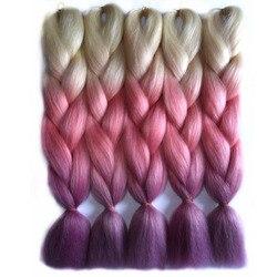 Chorliss 24inch 65cm jumbo synthetic hair extensions ombre braiding hair straight crochet braids 613tpinktpurple 100g pack.jpg 250x250