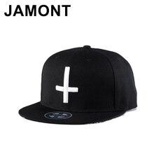 Jamont Cruz Blanca Snapback Cap hombres mujeres bordado Gorras Hip Hop  sombrero calle roca verano visera plana béisbol sombreros 2a70798ebcf