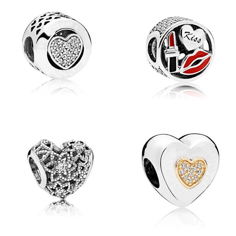4 стиль стерлингового серебра 925 Шарм бусины Кристалл полый любовь бисера для оригинальный Pandora браслет DIY для женщин ювелирные изделия