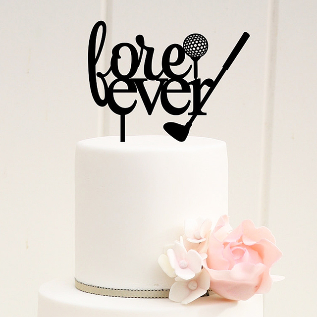 Golf Wedding Cake Topper Fore Ever Letter Silhouette cake toppers ...