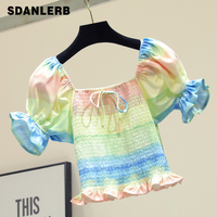 Sweet Sexy Slash Collar Rainbow T shirt Women Holiday Bohemian Ruffles Shirt Rainbow Shirts Girls Ladies Short Top Top