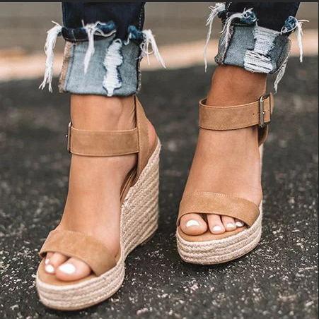 EOEODOIT Summer Ultra High Wedges Heel Sandals Fashion Open Toe Platform Elevator Women Sandals Shoes Plus Size Pumps 2019