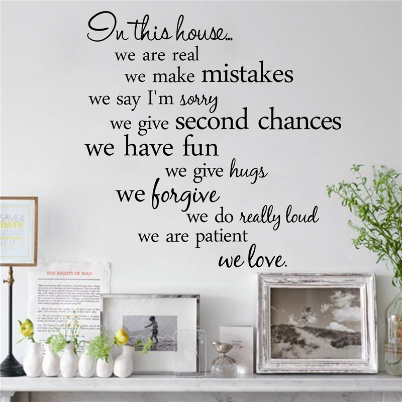 % In this house we are real Home Decal Family Vinyl Wall Sticker Quotes Lettering Words Living Room Backdrop Decorative Decor(China)