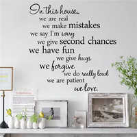 % In this house we are real Home Decal Family Vinyl Wall Sticker Quotes Lettering Words Living Room Backdrop Decorative Decor
