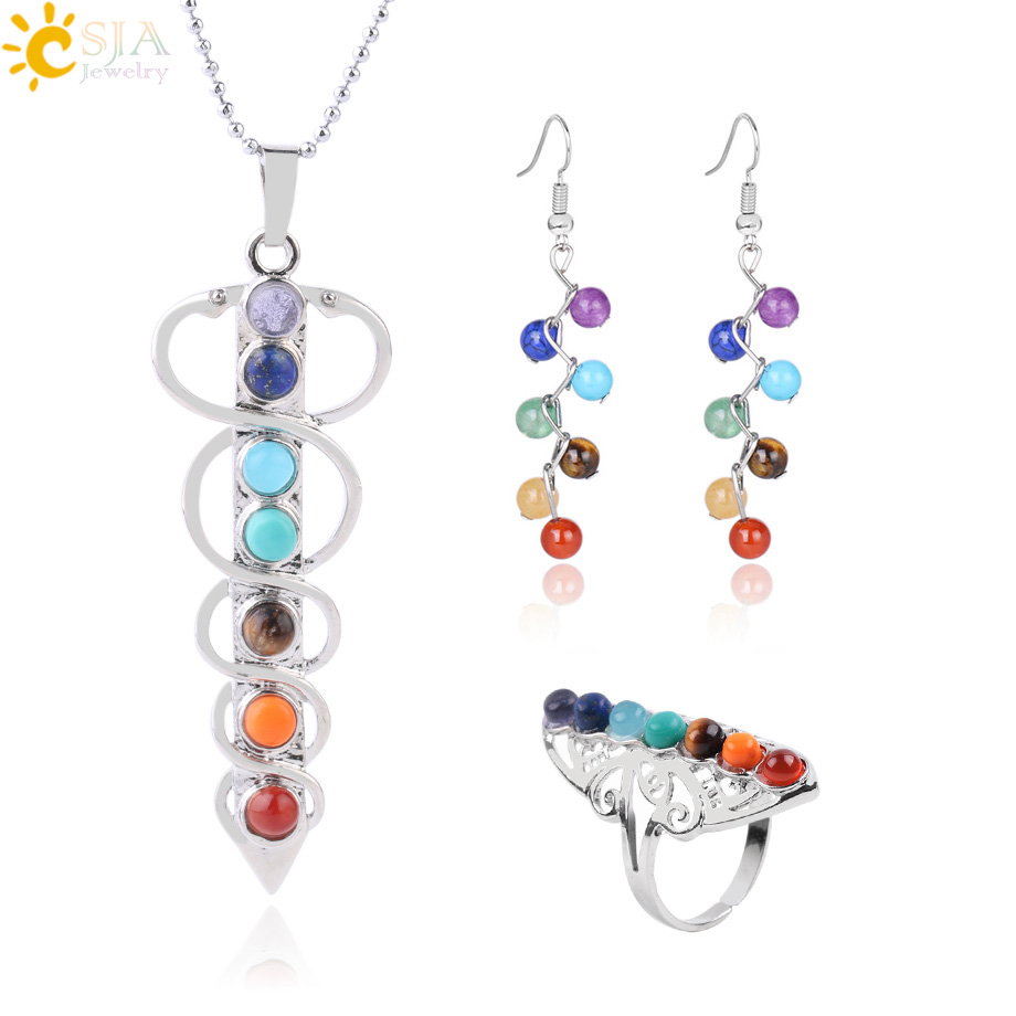 CSJA 7 Chakra Jewelry Set for Femme Natural Round Stone Yoga Beads Reiki Healing Necklace Ring Earrings Religious Jewellery F660