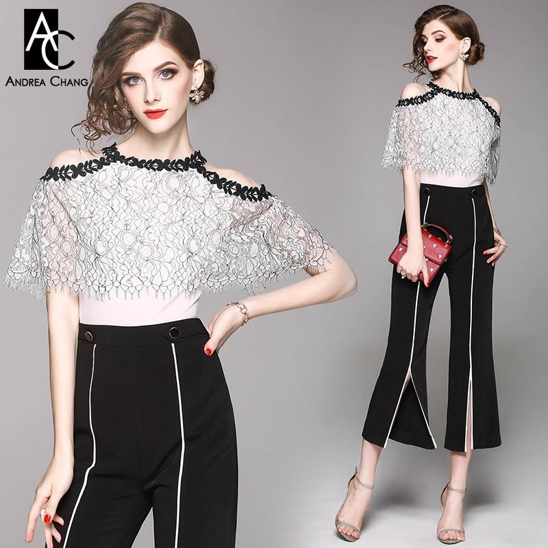 summer spring woman jumpsuit black flower border white lace top hollow out shoulder front split bottom black pants jumpsuit