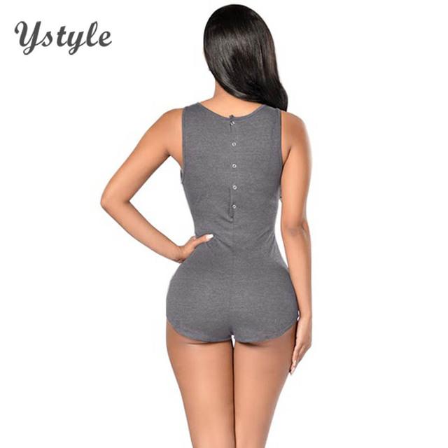 Botões de Volta Sexy das mulheres Curto Macacões Feminino Femme Casuais Sem Mangas Bodycon Bodysuits Outerwear 2016 Verão SD108