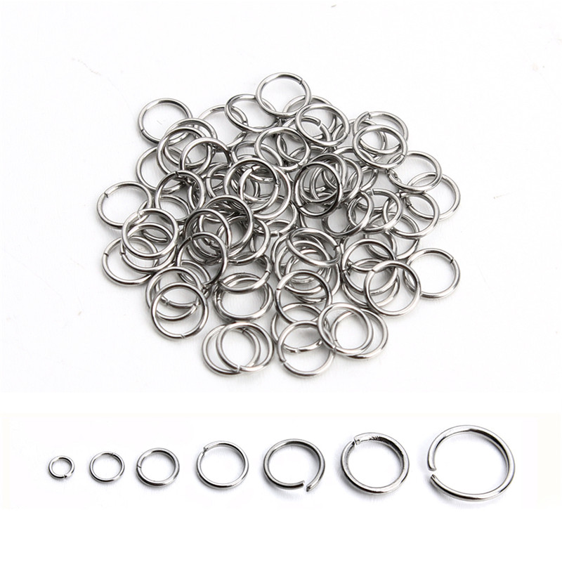 200pcs/lot Stainless Steel Link Loop Rings Mix Sizes Open Jump Ring 3 4 5 6 7 8 10mm For DIY Jewelry Materials Connectors F3703