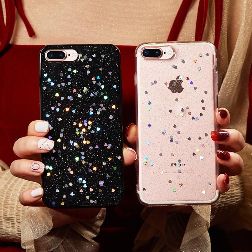 Brillant Transparent Klar Glitter Star Fall Abdeckung Für Iphone 8 Plus Weiche Tpu Coque Für Iphone 6 6 S 7 Plus X Xs Max Xr Fall Liebe Herat Handys & Telekommunikation