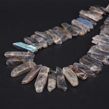 """15.5 """"strand Natural Flash Labradorite Top Drilled Slice Loose Beads,Raw Stone Rectangle Slab Pendants Necklace Jewelry Making"""