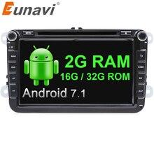 Eunavi 2 din 8 »Android 7,1 VW dvd-плеер автомобиля для VW Tiguan ПОЛО Гольф Passat B6 Jetta skoda сиденье Wi-Fi gps стерео радио в тире