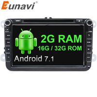 Eunavi 2 Din 8 Android 7 1 VW Car DVD Player For VW Tiguan Polo Golf