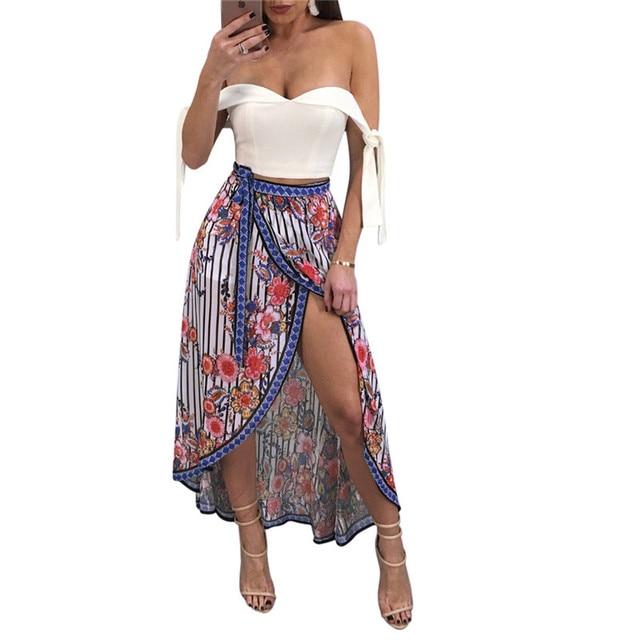 543a046fa 2018 Summer Casual Beach Long Skirt with Belt Fashion Floral Print Women's  Sexy High Slit Maxi Skirt Loose Irregular Skirt