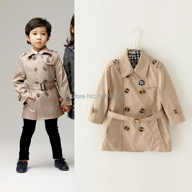 Boy outerwear Trench Coat with belt Double breasted fashion children's coat Kids Windbreaker international style to