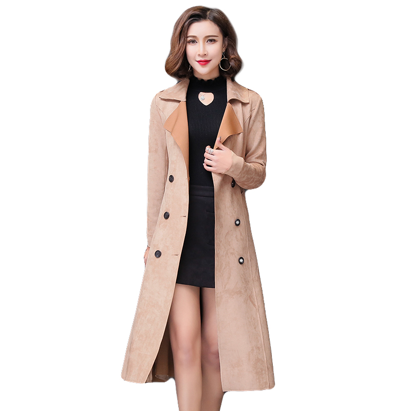 2018 New Spring autumn suede trench coat long sleeve belt fitted Double Breasted long trench coat Womens Casual trench Outwear