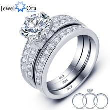 Роскошные свадебные Классический круглый фианит кольцо Наборы для ухода за кожей 925 стерлингов Серебряные кольца для Для женщин свадебные подарки (JewelOra RI101687)