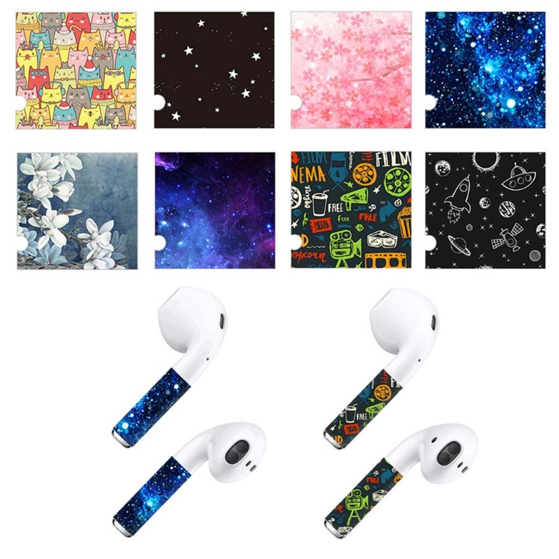 5Pcs Protective Wrap Sticker Skins Decals For Apple AirPods Wireless Earphones