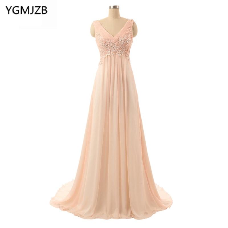 Elegant   Evening     Dresses   2018 A Line V Neck Cap Sleeve Appliques Lace Chiffon Pink Long Formal Prom   Evening   Gown Vestido De Festa