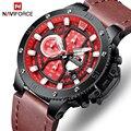 Часы NAVIFORCE мужские  модные  спортивные  Роскошные  кожаные  водонепроницаемые  кварцевые  наручные часы с секундомером  датой