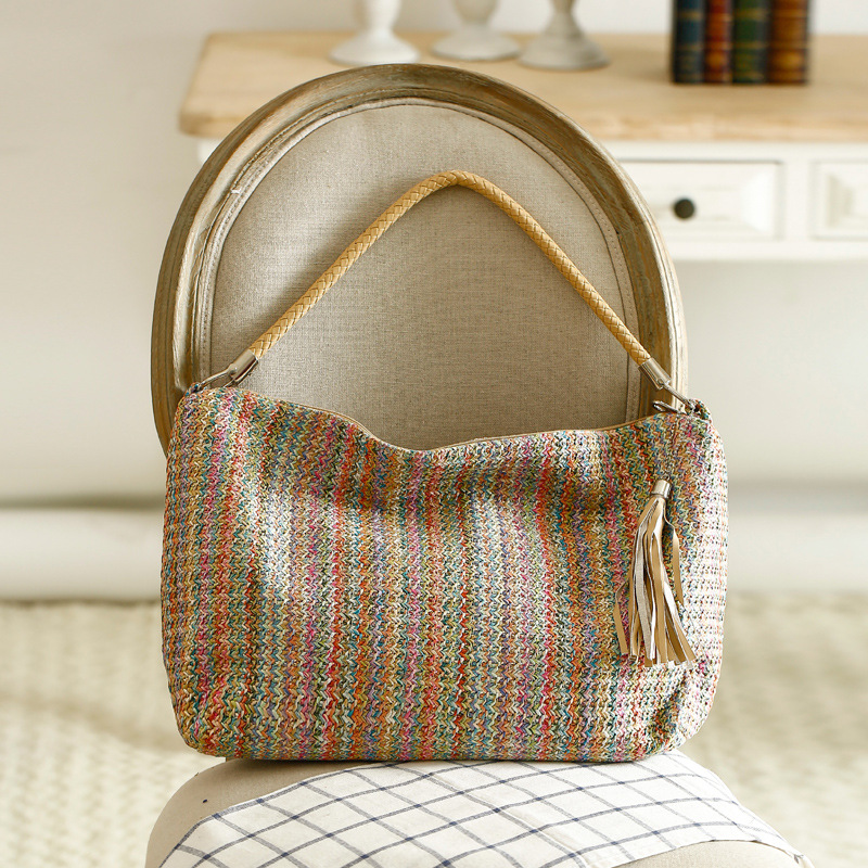 6380d44005c9 2018 Bohemian Straw Bags for Women Beach Bag Large Capacity Female Summer  Rattan Bag Handmade Striped