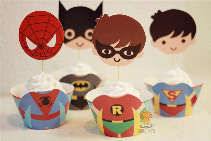 24pcs The Avengers IronMan Spider man super man batman cupcake wrappers kid's party favors cake toppers cupcake cases AW-0050