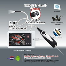 Handheld USB Video Inspection Borescope Endoscope 830mm Flexible Tube 7mm Waterproof Camera Head with 7 inch Android Monitor
