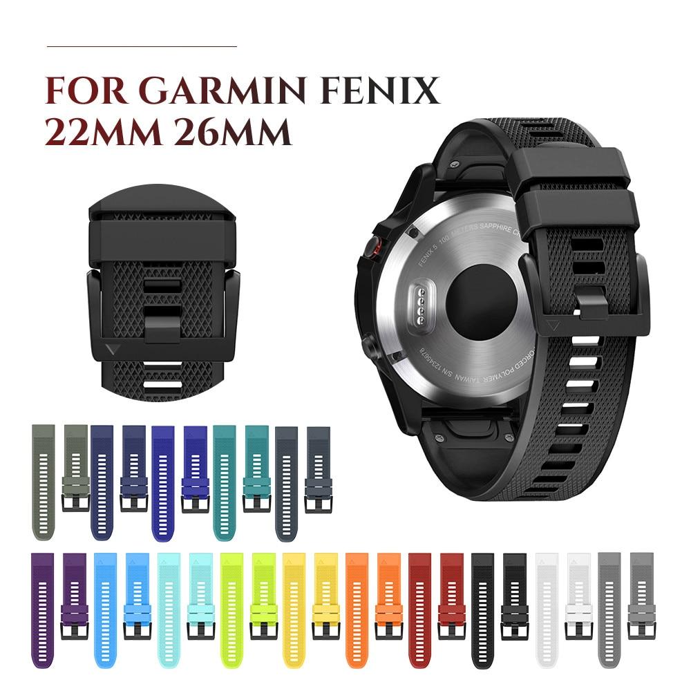 22mm 26m Silicone Watch Band Strap For Garmin Fenix 5 6 Bands Quick Fit Silicone Wristbands Strap For Garmin Fenix 5X 6X 3 3HR