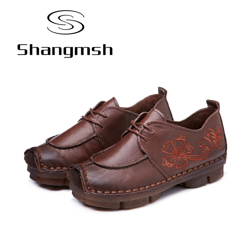 Shangmsh Vintage Handmade Women Flats Shoes 2017 Brand Autumn Folk Style Genuine Leather Casual Shoes Soft Lace-up Ladies Loafer shangmsh shoes for women 2017 new autumn