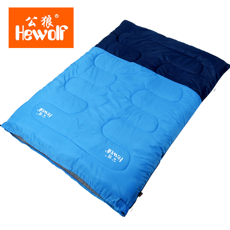 Hewolf Outdoor Double Sleeping Bags Cotton Lunch Break Room Camping Hiking Sleeping Bags Envelope Thickening 2-Person Capacity