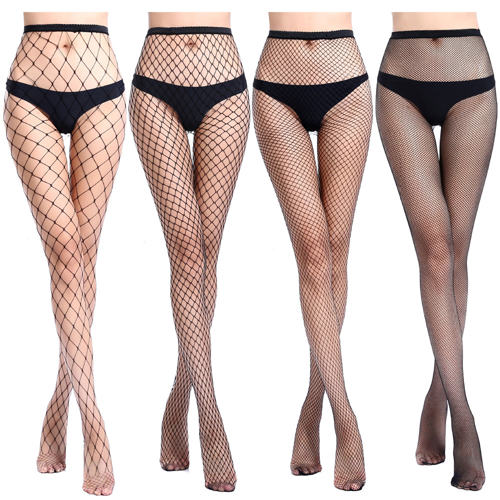 Black Female Fishnet Tights Sexy Women Stockings Pantyhose Mesh Stockings Club Party in grids Hosiery Calcetines collant femme(China)