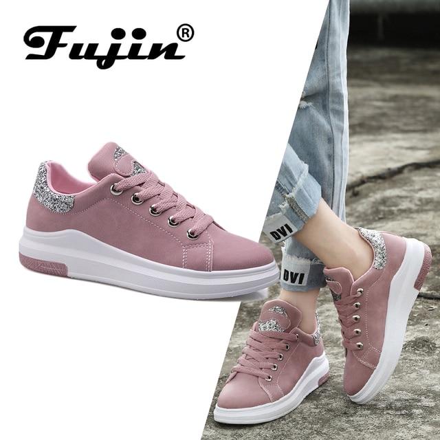 Fuijin 2019 İlkbahar Yaz Sonbahar kadın Moda sneakers kadın rahat ayakkabılar platformu PU deri klasik pamuk bağcıklı ayakkabı