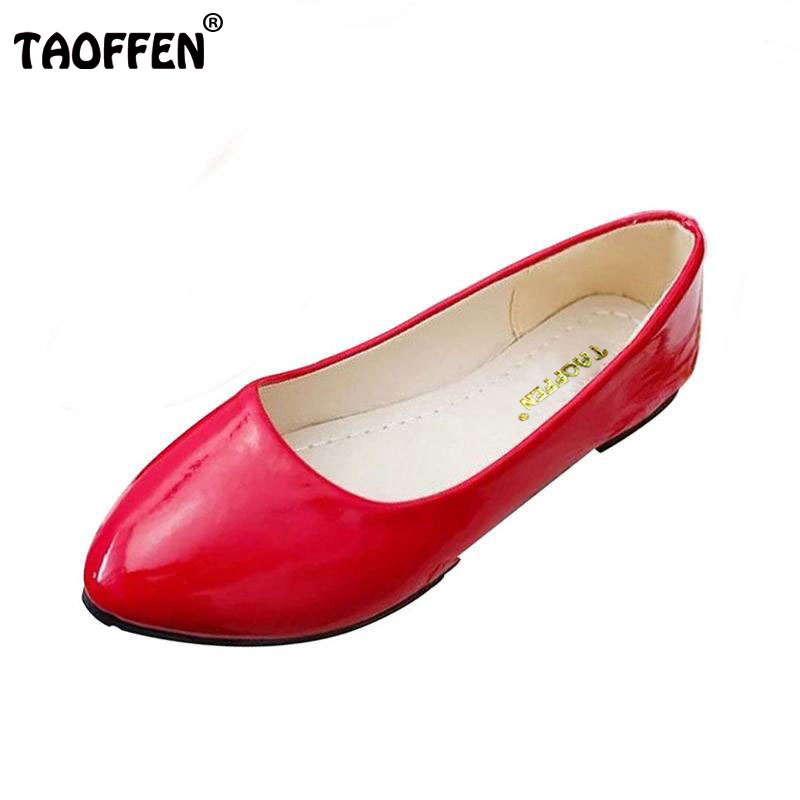 TAOFFEN fashion women shoes woman flats high quality comfortable pointed toe rubber women sweet flats hot sale shoes size 35-40 2017 new fashion spring ladies pointed toe shoes woman flats crystal diamond silver wedding shoes for bridal plus size hot sale