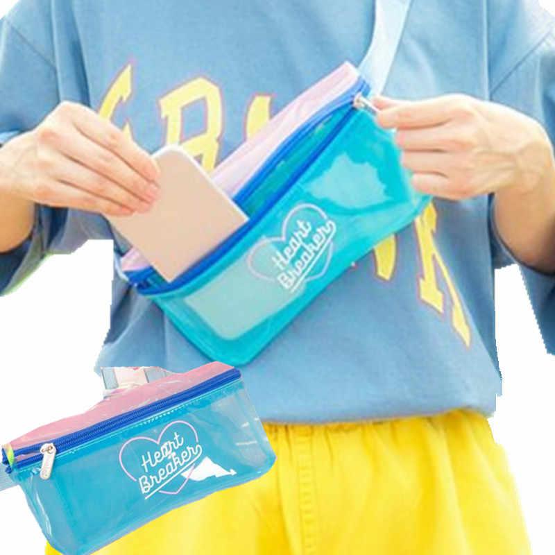 โปร่งใสหญิงฤดูร้อนเอวกระเป๋าขนาดเล็กซิปกระเป๋าเงินโทรศัพท์ใช้งานง่ายผู้หญิงแพ็คเอว PVC หัวใจสมาร์ทกระเป๋า