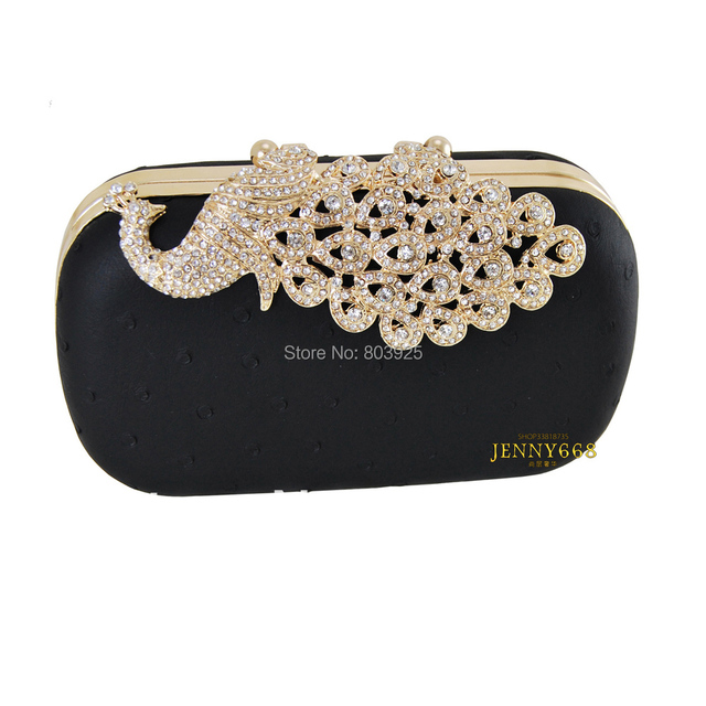 classic  diamond evening bag peacock female day clutch ,luxury elegant black bridal bag