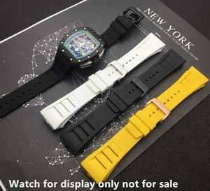 Image 3 - למעלה איכות מיובא טבע רך סיליקון גומי שחור רצועת השעון שעון להקת עבור mille רצועת עבור RM רצועת 011 עבור ריצ רד רצועה