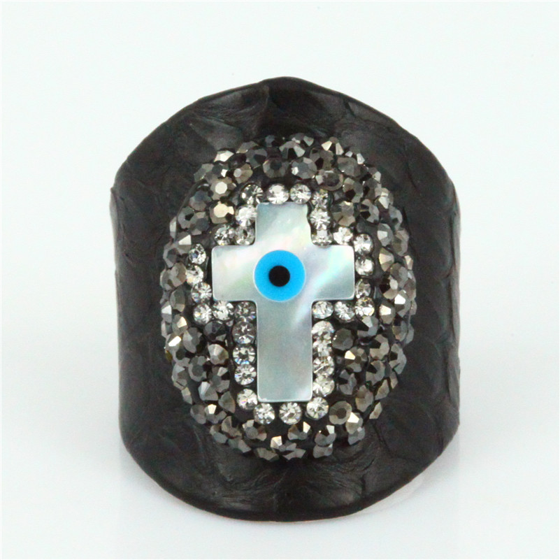 real black snake leather cuff finger ring charm shell cross with paved rhinestone statement ring for women/men gift