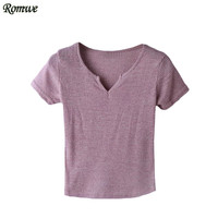 ROMWE Women Summer Tee Shirt New Arrival Womens Fashion Tops Plain V Neck Short Sleeve Casual