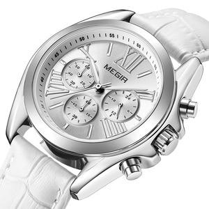 Image 1 - MEGIR frauen uhren luxus quarz wasserdichte Frauen uhr echtes leder strap Chronograph Armbanduhren Relogio Feminino