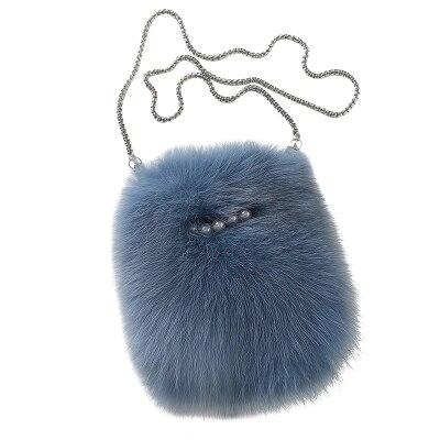 women winter novelty fox fur chain bag lady elegant small warm real fur one shoulder crossbody bag female luxury messenger bag
