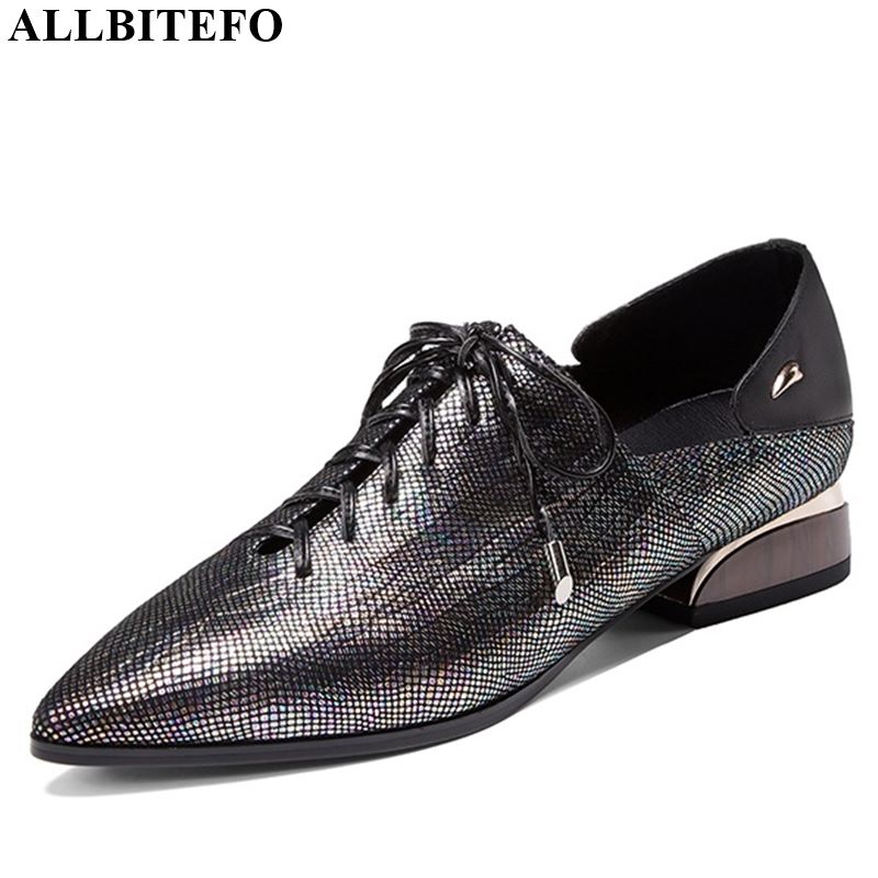 ALLBITEFO Real Genuine Leather Sexy Women Heels Fashion Girl Ladies High Heel Shoes New Casual New Spring Autumn High Heels