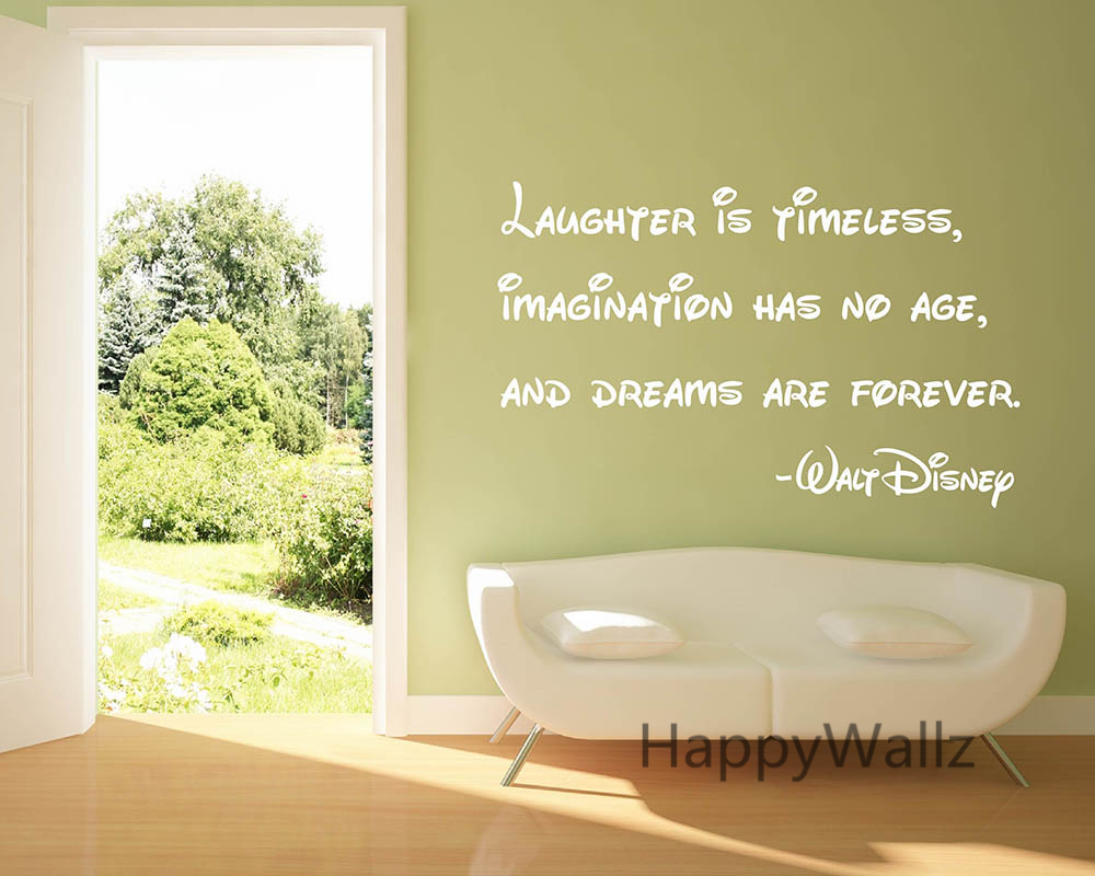 Motivational Quote Wall Sticker Laughter is Timeless Imagination Has ...