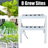 8 Sites 2 Layers Hydroponic Grow Kit Plastic Ebb & Flow Deep Water Culture Nursery Pot Hydroponic Rack Holder Garden System