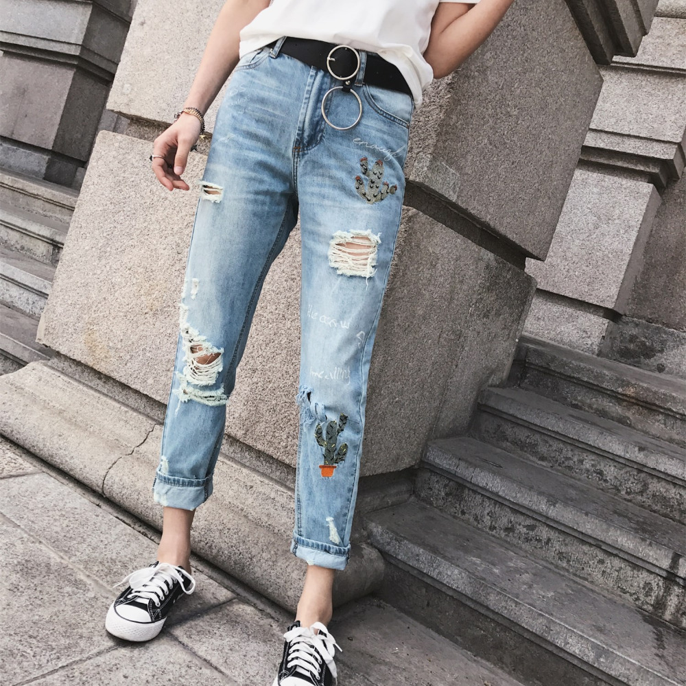Cactus Embroidery Ripped Hole Light Blue Women Vintage Jeans Denim Harem Pants Casual 2017 Fashion Mid Waist Loose Long Trousers free shipping fashion women jeans loose ankle length ripped hole harem denim pants korean style casual mid waist femme trousers