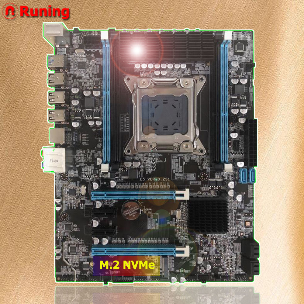 Discount computer parts Runing X79 motherboard with M.2 port for i7 3960x Xeon E5 2680 V2 ATX LGA2011 DDR3 4 channels memory