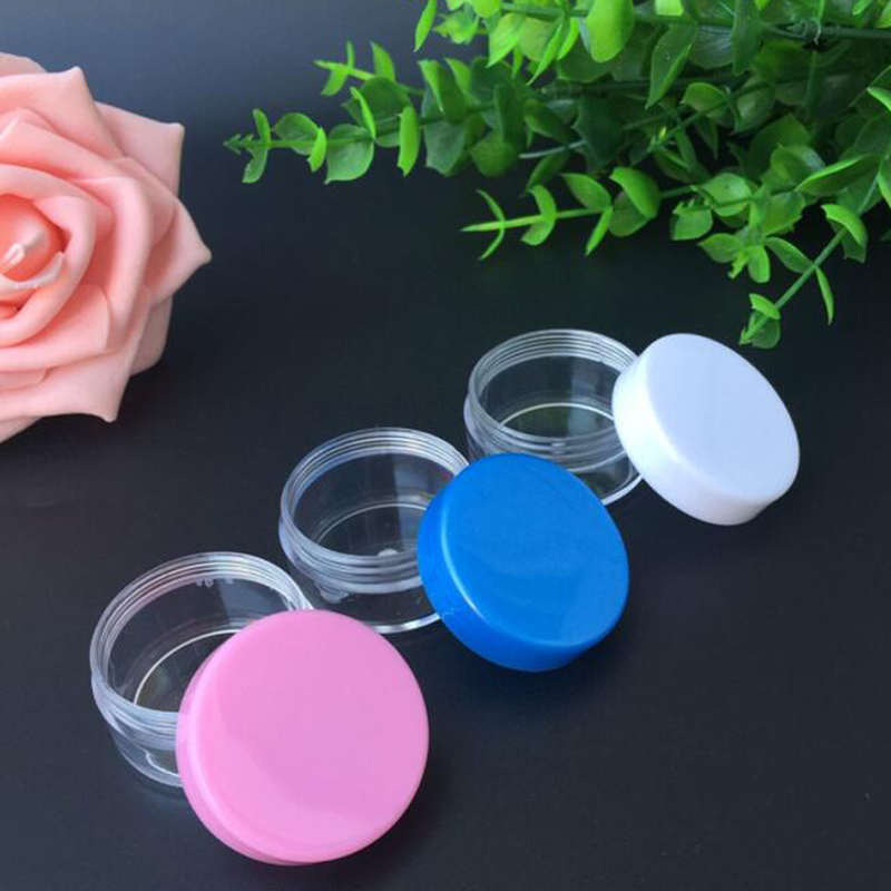 20Pcs Transparent Small Round Bottle Cosmetic Empty Jar Pot Eyeshadow Lip Shower Gel Face Cream Sample Container 10g B123